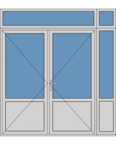 Aluminium dubbele deur borstwering T385