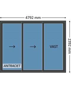 Aluminium schuifpui 3-delig met beglazing, kleur 7021ST antraciet structuurlak, STD130m