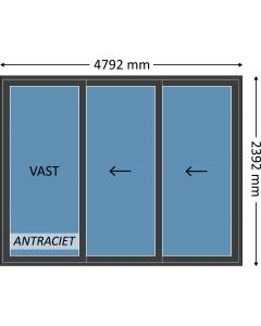 Aluminium schuifpui 3-delig met beglazing, kleur 7021ST antraciet structuurlak, STD140m