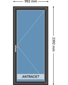Aluminium enkele deur met beglazing, kleur 7021ST antraciet structuurlak, STD220m
