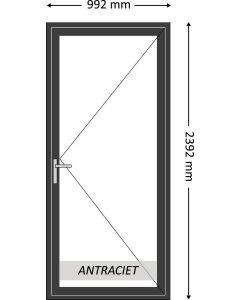 Aluminium enkele deur zonder beglazing, kleur 7021ST antraciet structuurlak, STD220z