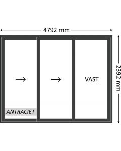 Aluminium schuifpui 3-delig zonder beglazing, kleur 7021TC antraciet structuurlak, STD530z