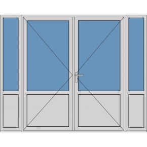 Aluminium dubbele deur borstwering T382
