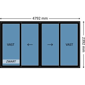 Aluminium schuifpui 4-delig met beglazing, kleur 9004TC zwart structuurlak, STD350m