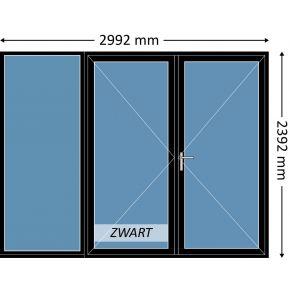 Aluminium dubbele deur met beglazing, kleur 9004TC zwart structuurlak, STD420m