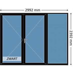 Aluminium dubbele deur met beglazing, kleur 9004TC zwart structuurlak, STD430m