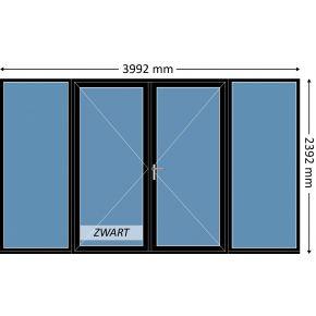 Aluminium dubbele deur met beglazing, kleur 9004TC zwart structuurlak, STD440m