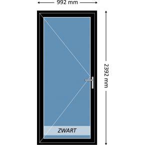 Aluminium enkele deur met beglazing, kleur 9004TC zwart structuurlak, STD460m