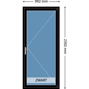 Aluminium enkele deur met beglazing, kleur 9004TC zwart structuurlak, STD470m