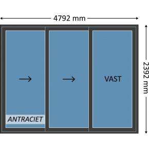 Aluminium schuifpui 3-delig met beglazing, kleur 7021TC antraciet structuurlak, STD530m