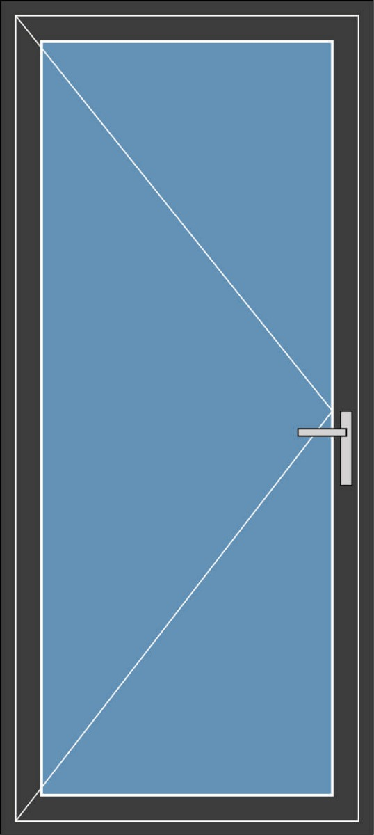 Aluminium enkele deur met beglazing, kleur 7021ST antraciet structuurlak, STD210m