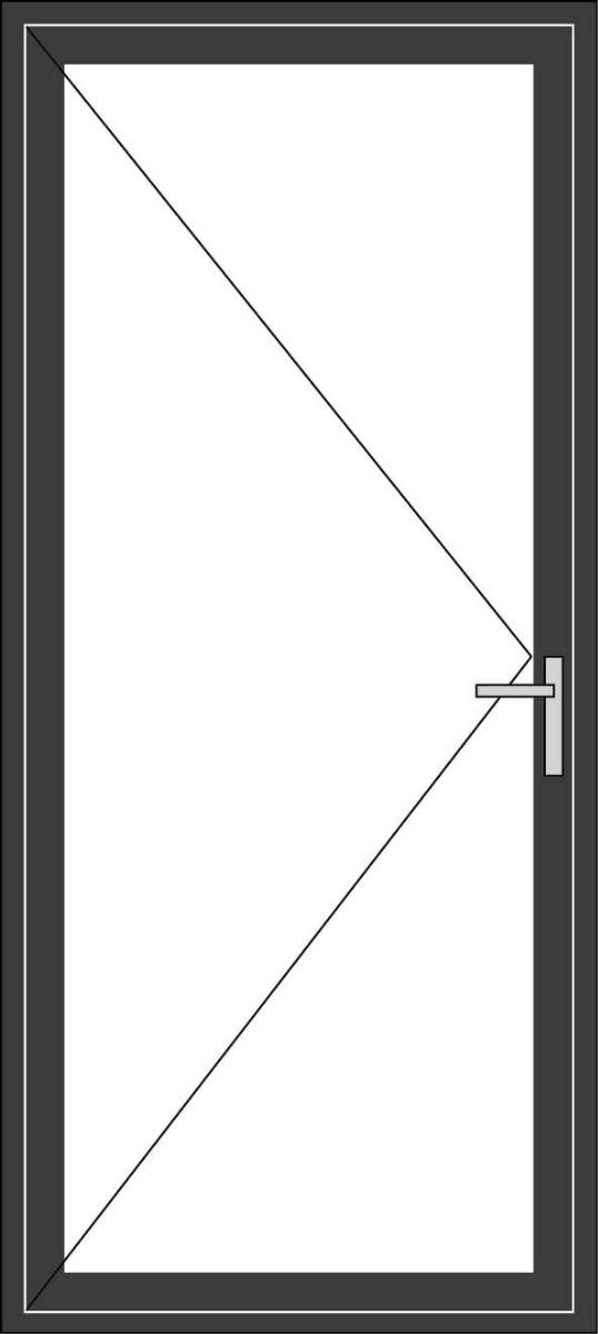 Aluminium enkele deur zonder beglazing, kleur 7021ST antraciet structuurlak, STD210z